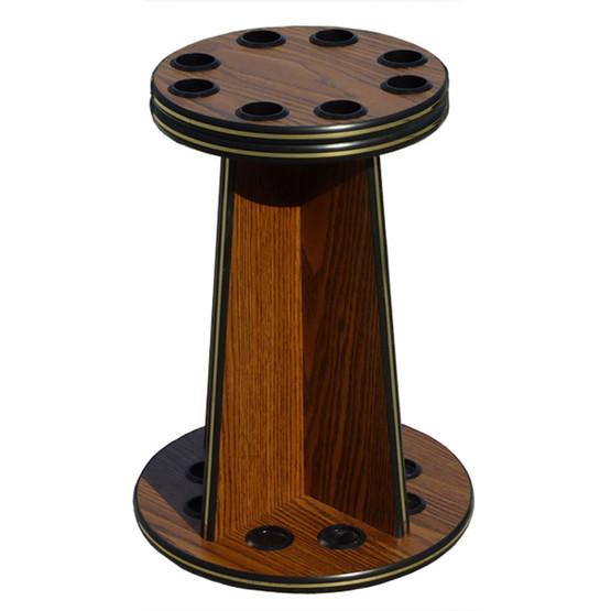 8 Cue Pool Stick Wood Floor Rack English Oak Game Room
