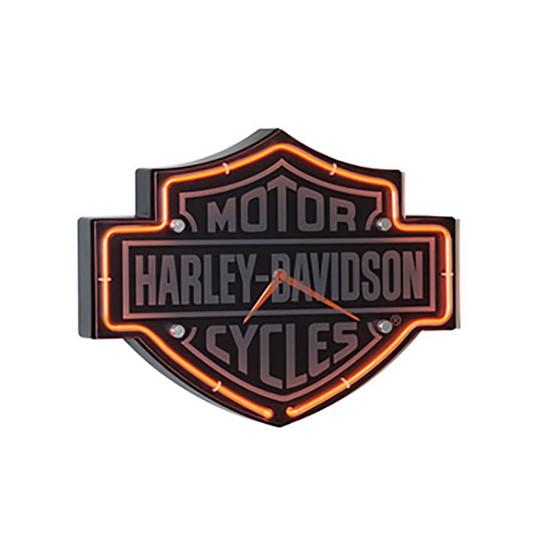 Harley Davidson Motorcycle Bar Shield Logo Neon Table Or: Harley Davidson Bar-Shield Shaped Neon Clock