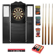 Steel Tip Dart Board and Billiard Cue Cabinet Package-Black