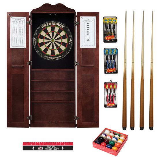 Steel Tip Dart Board Amp Billiard Cue Cabinet Pkg Game