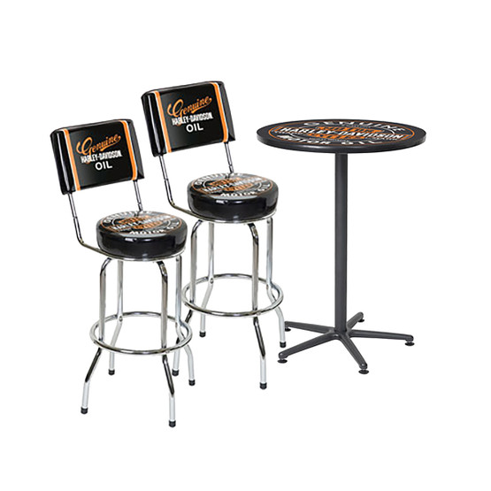 Groovy Harley Davidson Oil Can Cafe Table And Backrest Bar Stools Squirreltailoven Fun Painted Chair Ideas Images Squirreltailovenorg