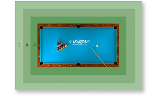 pool table dimensions for space area room